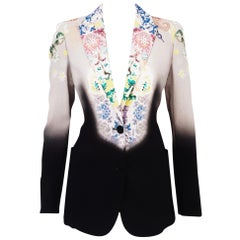 Etro Ombre & Floral Black and Grey Jacket Notch Collar & Two Front Pockets