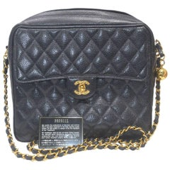 Chanel Black Caviar Leather Gold Hardware Camera Bag With Card