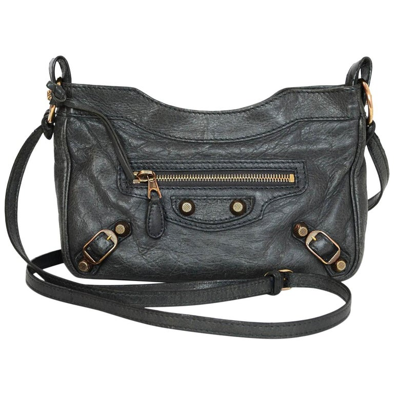 caabccd8e1c3c Balenciaga Grey Distressed Leather Moto Giant 12 Hip Crossbody Bag with  Dust Bag For Sale