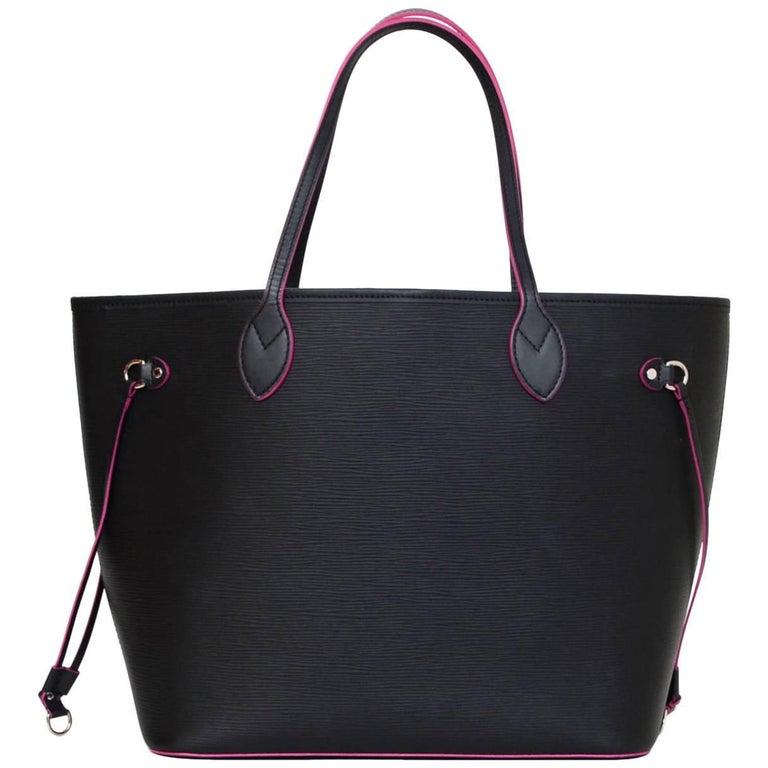 Louis Vuitton Black Noir & Rose Pink Epi Neverfull MM Tote Bag with Dust Bag