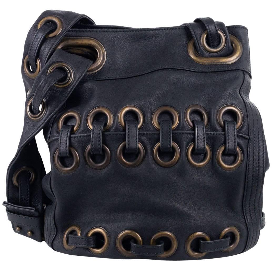 Roberto Cavalli Solid Dark Gray Large Eyelet Tote Bucket Bag sZOeu7Pw