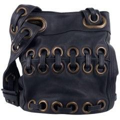 Roberto Cavalli Solid Dark Gray Large Eyelet Tote Bucket Bag
