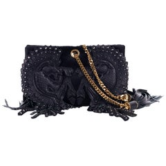 Roberto Cavalli Black Calf Hair Studded Leather Tassel Clutch