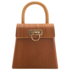 Salvatore Ferragamo Gancini Top Handle Cherry Wood Handbag, Circa 1997 - 1998