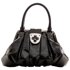 Alexander McQueen Elvie Black Patent Leather Top Handle Handbag, Circa 2007
