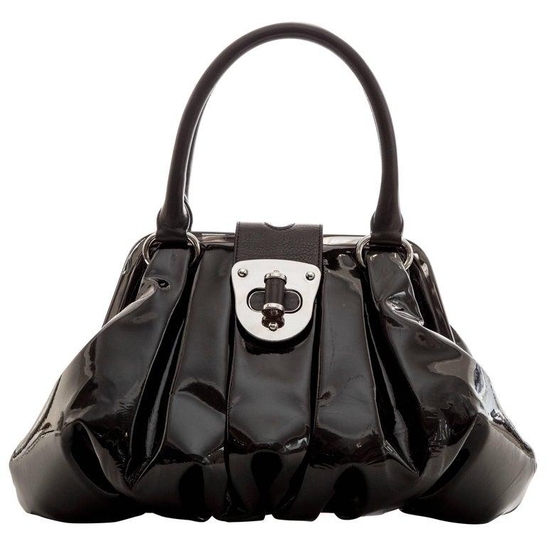Alexander McQueen Elvie Black Patent Leather Top Handle Handbag, Circa 2007