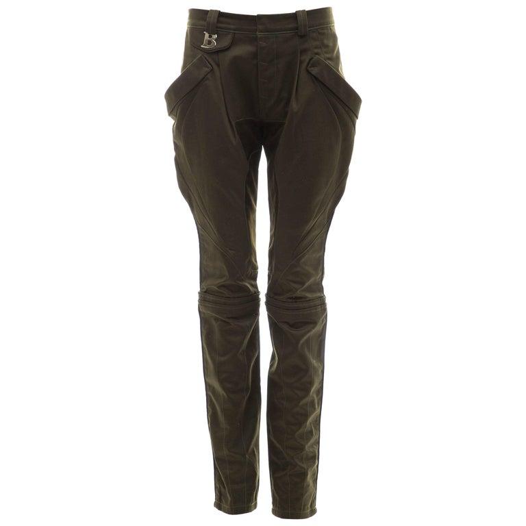 Nicolas Ghesquière for Balenciaga Runway Cotton Suede Pants, Fall 2007 For Sale
