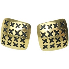 Vaubel Stylized Gold Vermeil Perforated 'X' Earrings