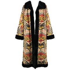 Oscar De La Renta Print Silk and Embroidered Mink Fur Opera Evening Ikat Coat