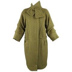 Louis Vuitton Green Damier Wool Tweed Bow Collar Coat