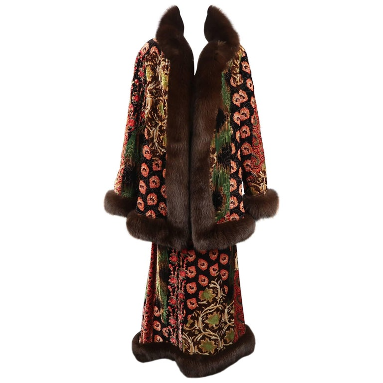Oscar de la Renta Quilted Floral Paisley Velvet Fox Fur Trim Ensemble