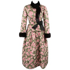Bill Blass Pink and Green Rose Print Cocktail Dress and Mink Jacket Ensemble