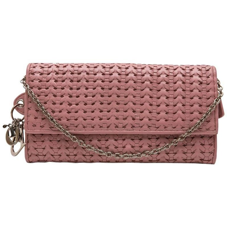 CHRISTIAN DIOR bag in Chain in Light pink Braided Leather