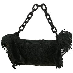 2008 Prada Black Lace Pizzo Shoulder bag