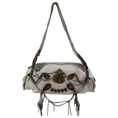 John Richmond white leather chains and swarovsky Shoulder Bag