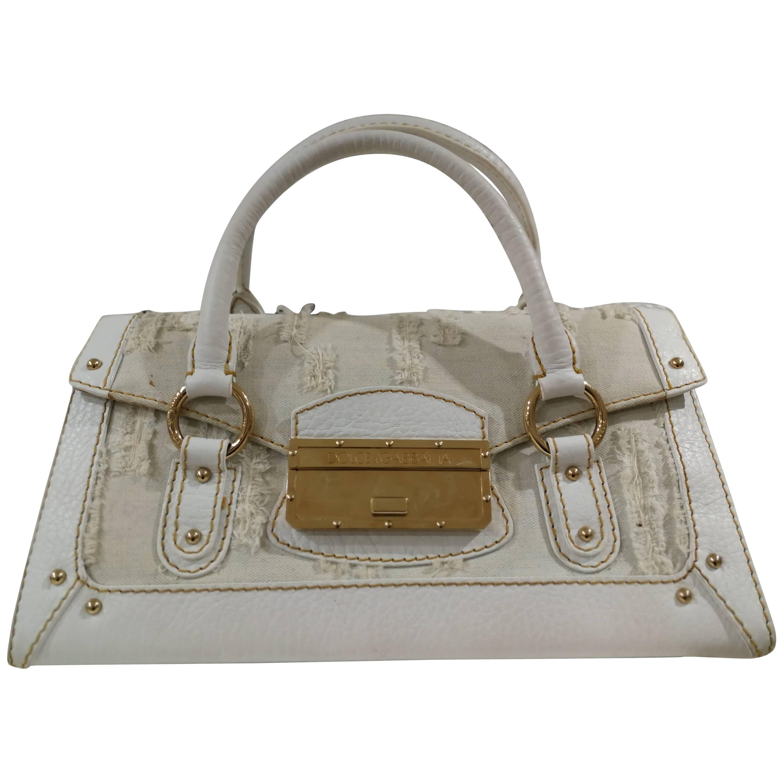Dolce & Gabbana White Leather Denim Handle Shoulder Bag 0BUrodO