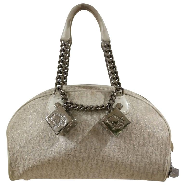 Christian Dior white Gambler Cubes Bag