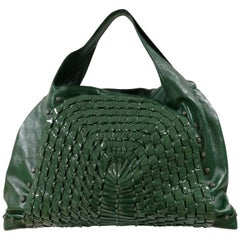 Salvatore Ferragamo Green Patent Leather Edera hobo Shoulder bag