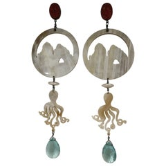 Amlè Horn Aquamarine Handmade Faraglioni Capri Earrings