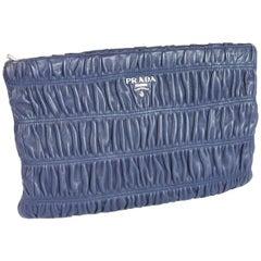 Prada Nappa Gaufre Handbag Pochette Leather Blue, 2014s