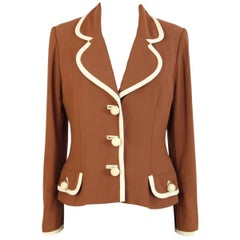 Moschino Couture Vintage Brown Short Blazer Jacket, 1980s