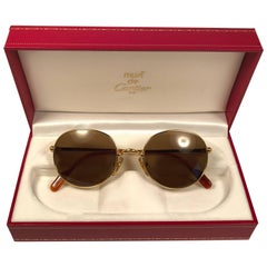 Mint Cartier Oval Gold Antares 49mm Frame 18k Plated Sunglasses France