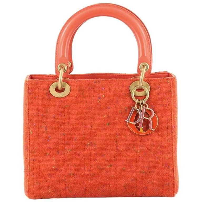 c516bf91f3a Christian Dior Lady Dior Handbag Cannage Quilt Tweed with Leather Medium  For Sale