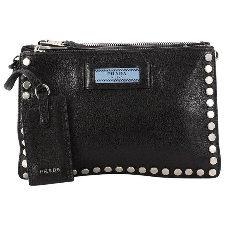 8ff95904d212 Prada Etiquette Crossbody Bag Studded Glace Calfskin Small at 1stdibs
