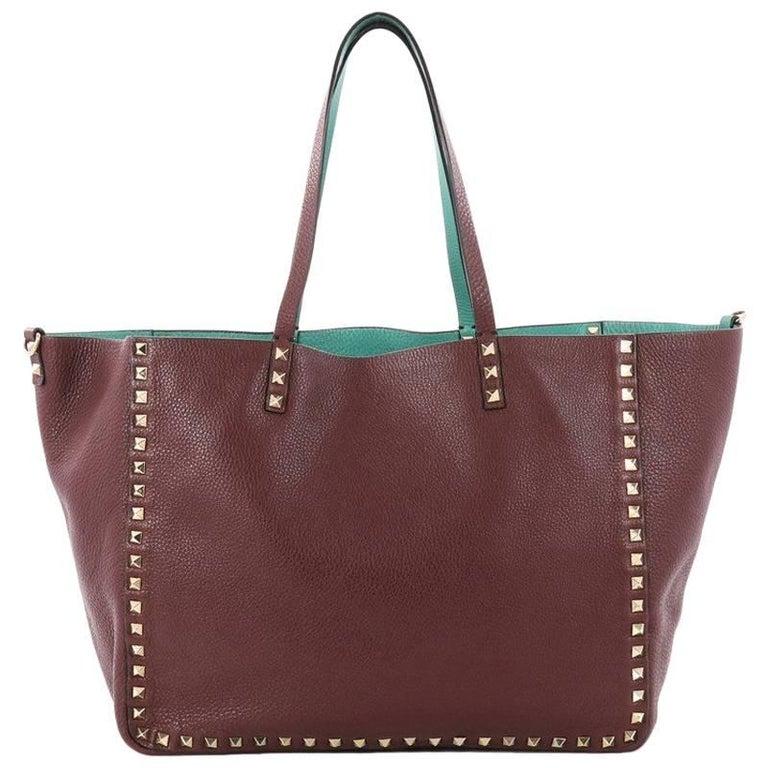 Valentino Rockstud Reversible Convertible Tote Leather Medium
