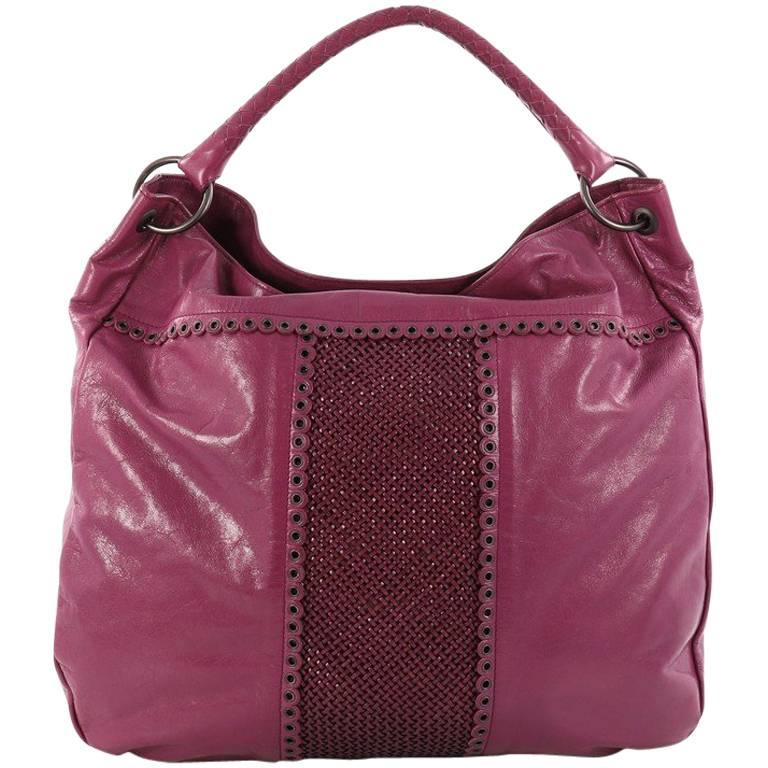Bottega Veneta Hobo Leather with Grommet Detail Large For Sale
