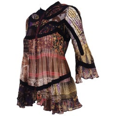 Etro Silk Multi Print & Multicolor With Flared Sleeves Top