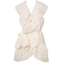 Donna Karan Ivory Pleated Ruffle Top with Sash at Waist