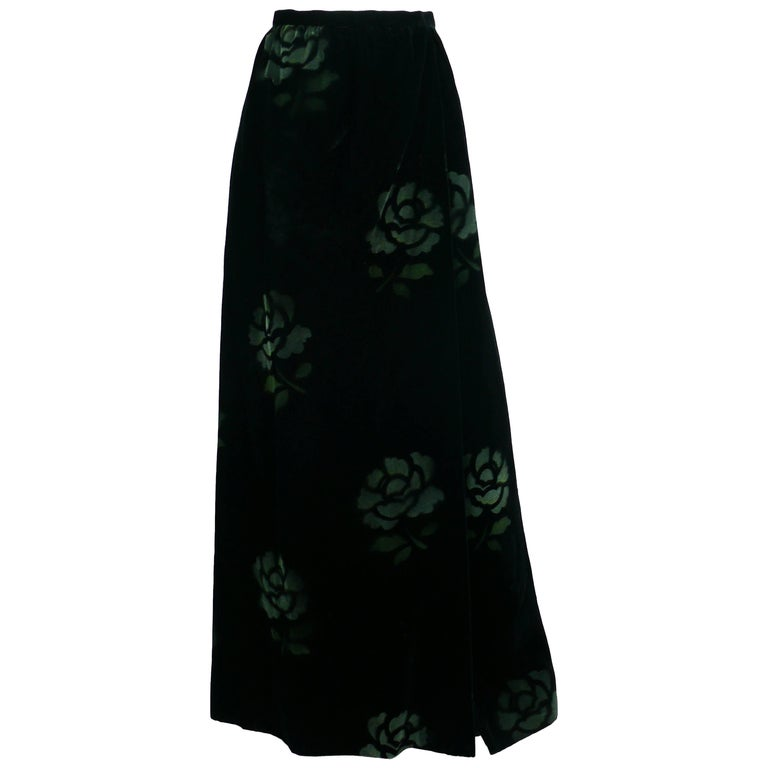 Jean Louis Scherrer Boutique Vintage Black Velvet Maxi Length Wrap Skirt