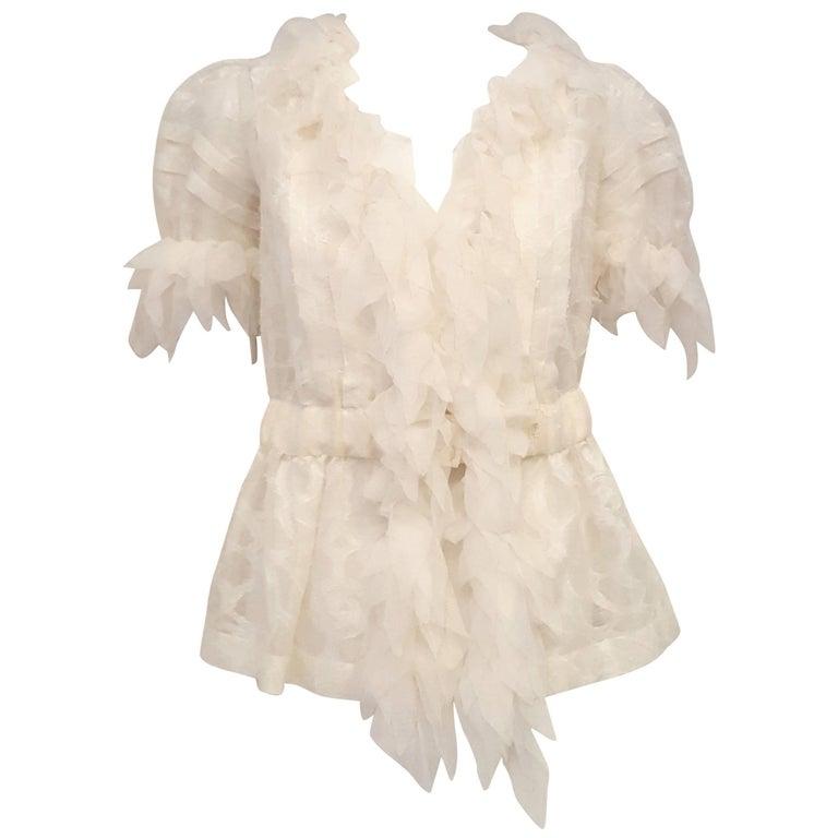 Chanel White on White Sheer Frayed Silk w/ Petal Like Ruffles Collar Blouse