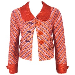 Marc Jacobs Orange Multi Tweed Jacket Sequined & Beaded Embellished