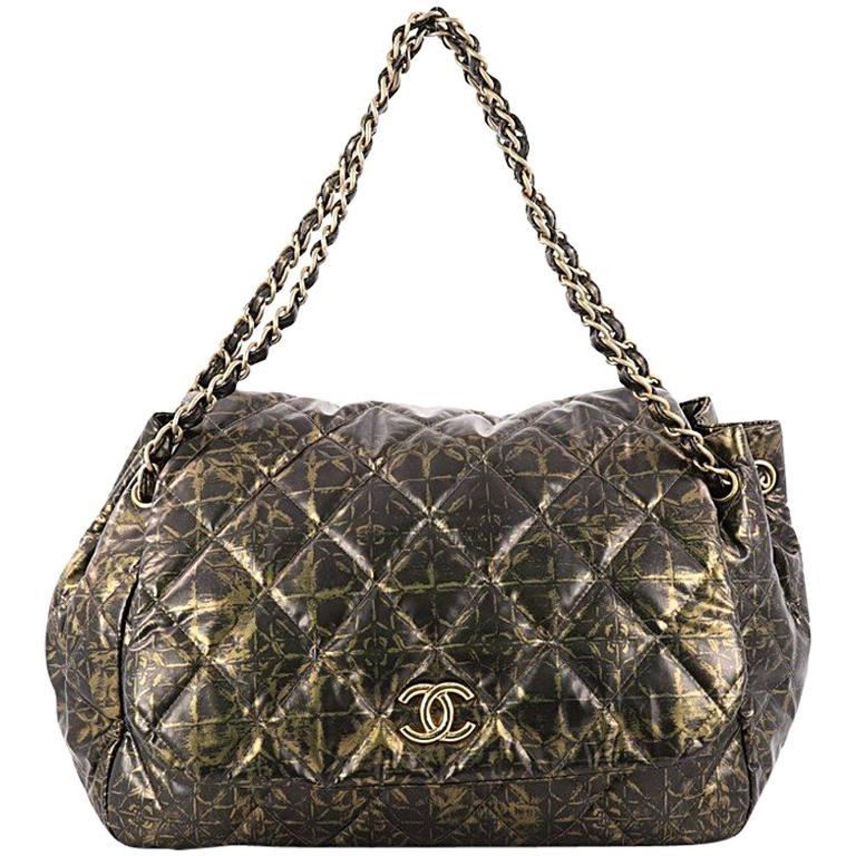77bc4ad0a6b2 Chanel Accordion Flap Bag Quilted Printed Nylon Medium at 1stdibs