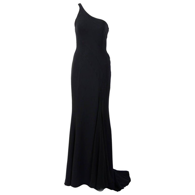 Gianni Versace black silk chiffon one shoulder open back gown, 1990s