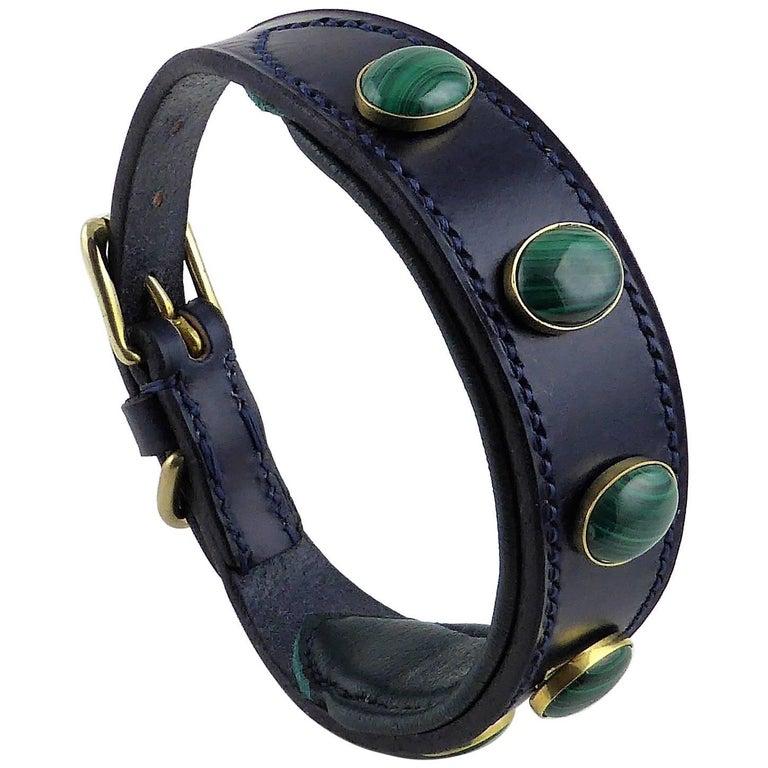 Malachite bespoke leather dog collar