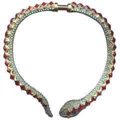Signed Kenneth Lane KJL Faux Ruby Turquoise Snake Runway Collar Necklace