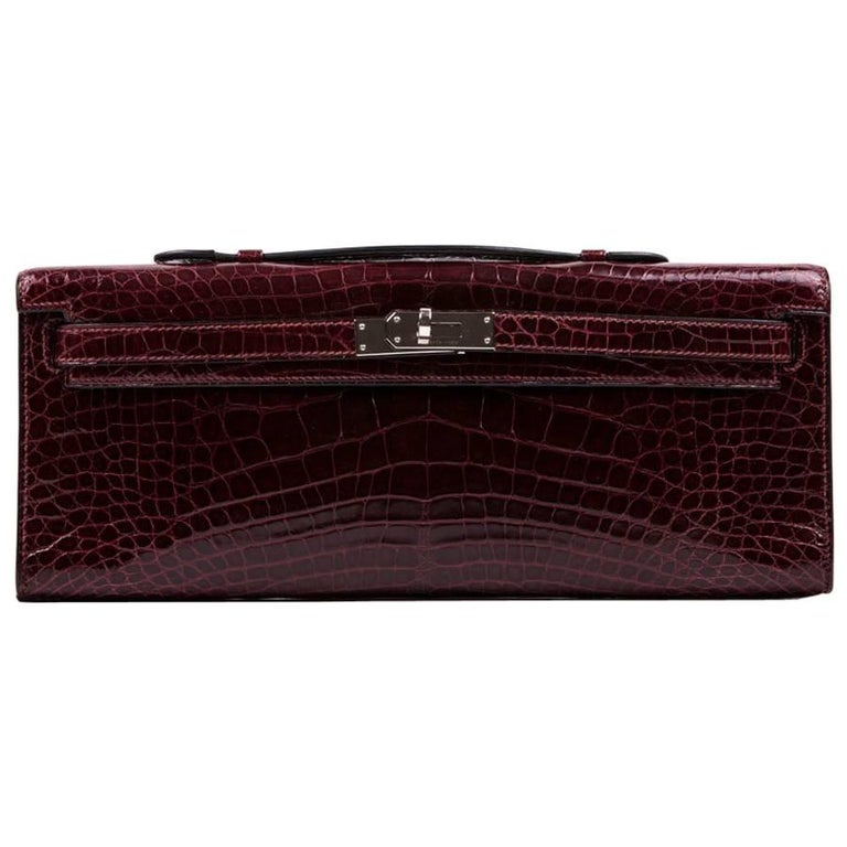 Hermes Kelly Clutch in Red H Crocodile Leather