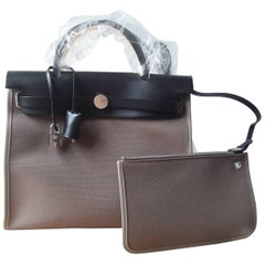 Hermes Bag Herbag 31 Toile Officier/Vache Hunter Etoupe/Noir