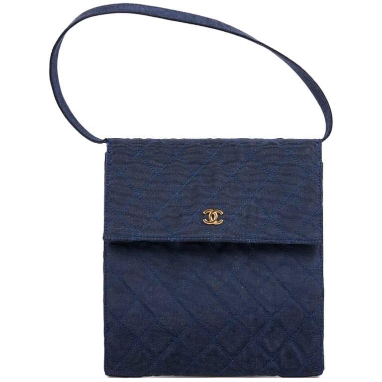 CHANEL Vintage Bag in Midnight Blue Duchess Satin