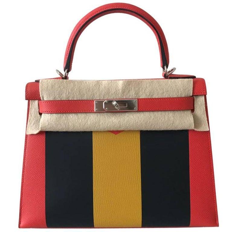 Hermes Kelly Handbag Limited Edition 28 Lettre M epsom Palladium Hardware