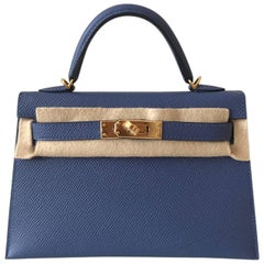 Hermes Bag Kelly 20 Blue Brighton Epsom Gold Hardware
