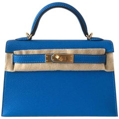 Hermes Bag Kelly 20 Blue Hydra chèvre ghw