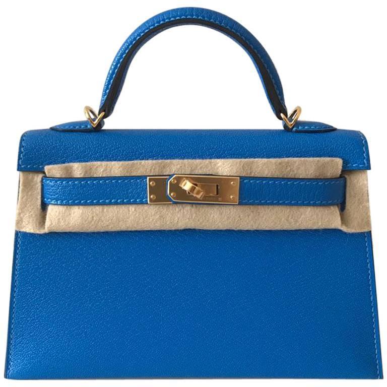 Hermes Bag Kelly 20 Blue Hydra chèvre ghw