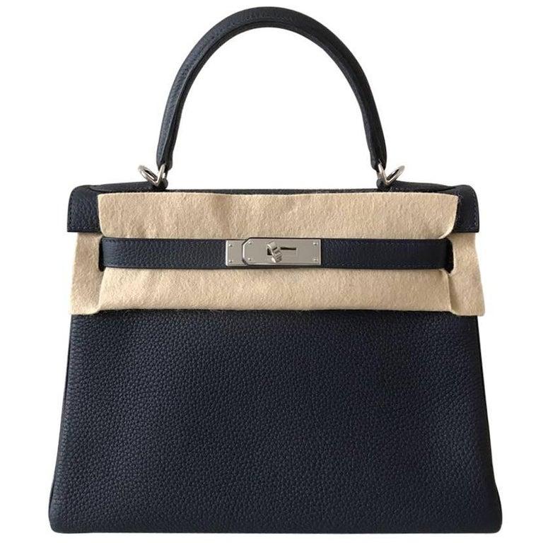 Hermes Kelly Bag 28 Blue Nuit Clemence phw