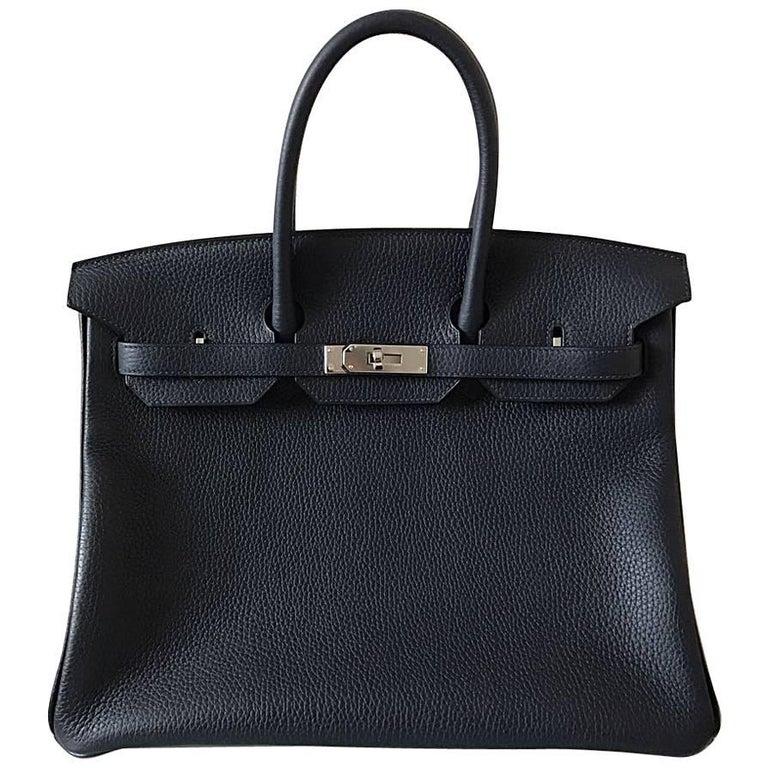 Hermes Birkin Bag 35 Blue nuit/Rose pourpre Clemence Palladium Hardware