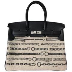 Hermes Bag Birkin 35 Limited Toile De Camp Dechainee/Swift Ficelle-Noir/Noir