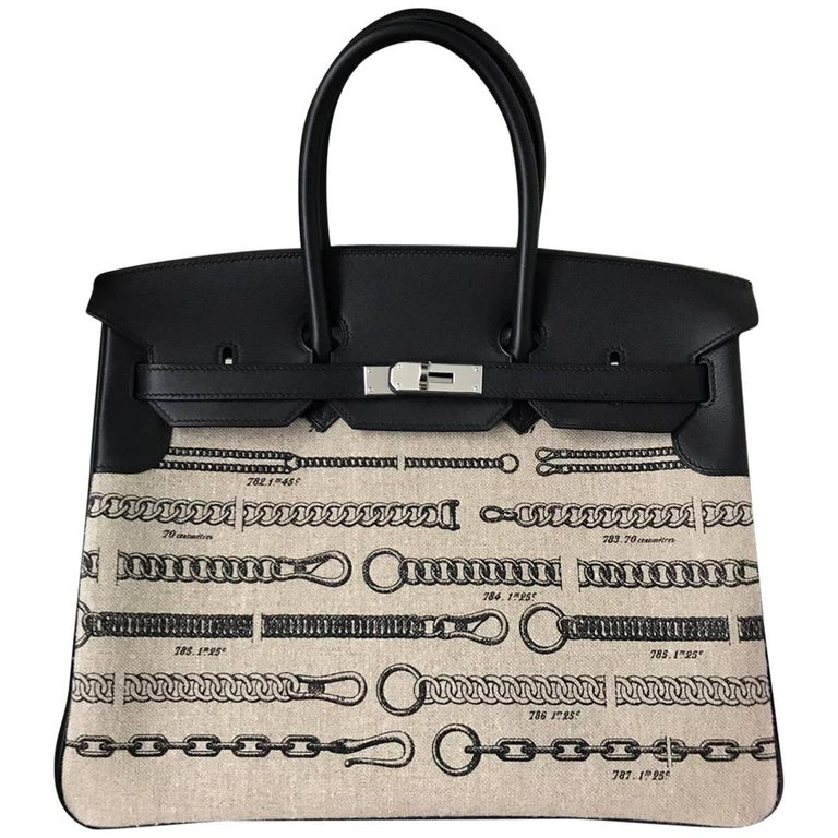Hermes Bag Birkin 35 Limited Toile De Camp Dechainee/Swift Ficelle-Noir/Noir  For Sale